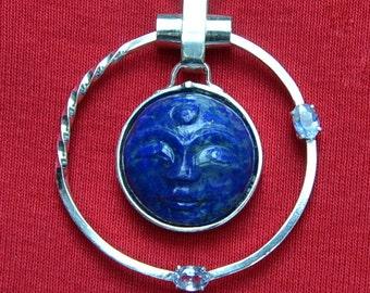 Celestial - Lapis and Sapphire pendant with unique necklace