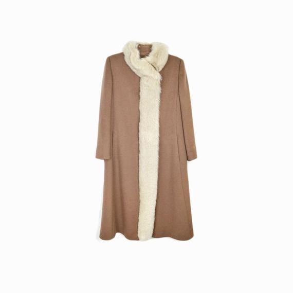 Vintage 60s/70s Long Wool Coat with Fur Trim / White Fox Fur Coat / Winter Wedding Coat - women's medium/large