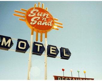 Neon Sign 9x12 Photograph - New Mexico Route 66 Art Photo - Orange Neon Sunburst Blue Sky - Retro Americana Photography - Roadside America