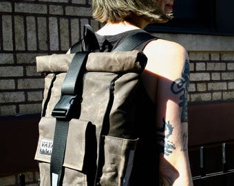 Waxed Canvas Rolltop backpack
