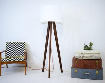 Tripod Floor Lamp Midcentury Modern Inspired Walnut Tripod