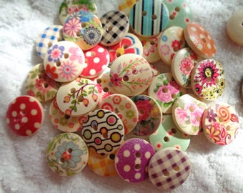 Whimsical Patterned Wood Buttons