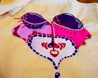 Eco -friendly shopping bag, handpaint