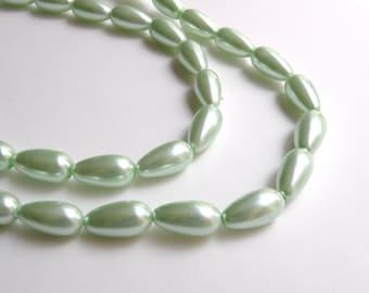 Mint Green glass pearl teardrop pendant bead 17x8mm full strand 2079GL