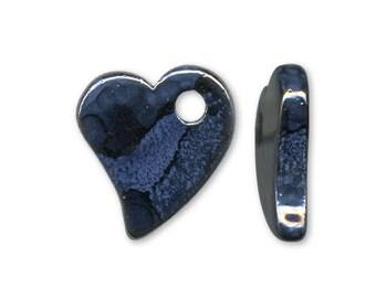 1 pendant heart ceramic blue 22x19mm