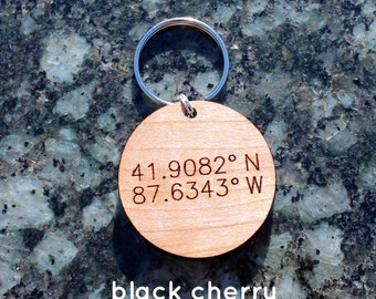 Custom coordinates urban wood keychain // mothers day  // anniversary gift // birthday gift // personalized gift // wedding gift