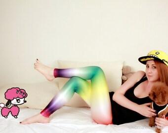 GALAXY KPOP LOLLIPOP Leggings / Rainbow leggings/Color Bottoms/Sports pants/Designed Leggings/Women Stretch Leggings/ Yoga Pants Tights dz89