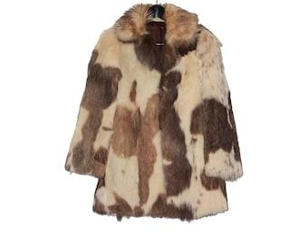 60s 70s vintage women fur coat Cow cream brown print rabbit fur jacket- vintage clohting