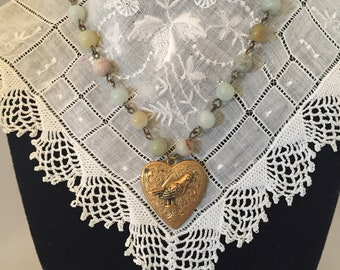 Vintage Brass Heart Pendant with Amozonite beaded chain