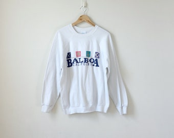 "80s ""Balboa, California"" Vintage Sweatshirt 80s Sweatshirt Oversized Sweatshirt - California Sweatshirt - White Sweatshirt - Men's XL"