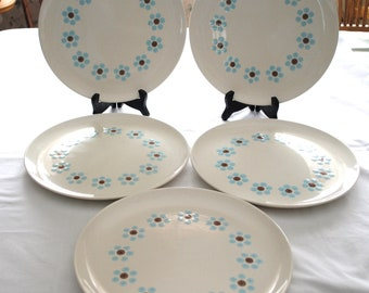 Taylor, Smith & Taylor Arctic Night 5 - Dinner Plates A Ring of  Blue Flowers with Brown Centers
