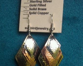 Hammered Earrings Diamond Shape
