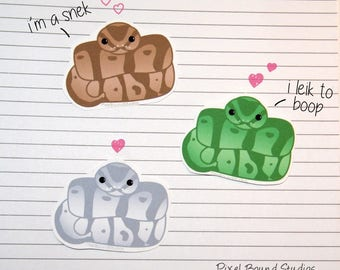 Chibi Ball Python Stickers and Magnets