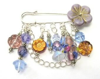 Purple Flowers Kilt Pin Brooch - Handmade Brooches - Blue/Pink/Purple