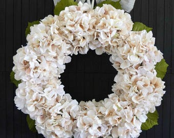 Blush Hydrangea Spring and Summer Front Door Wreath - Ready to Ship