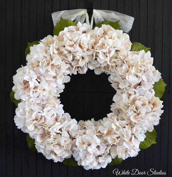 Blush Hydrangea Spring and Summer Front Door Wreath