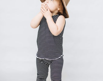 Baby Unisex tank and pants set, Harem pants,going home outfit, black and white set, Modern cothes