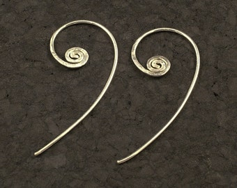 Silver Spiral Earrings / Simple Unique Spirals of Argentium Sterling - Duo Style - Insert from Front or Back for a Different Look