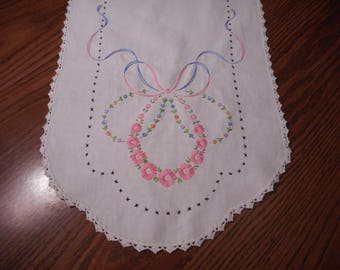 Vintage Hand Embroidered and Crochet Table Runner/ Dresser Scarf.  Mint