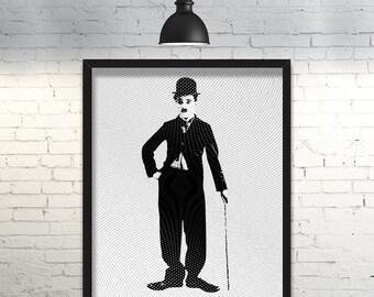 Charlie Chaplin Printable Poster      Engraved Effect      80x100cm      100x100cm      130x100cm      High Resolution PDF & JPG Files