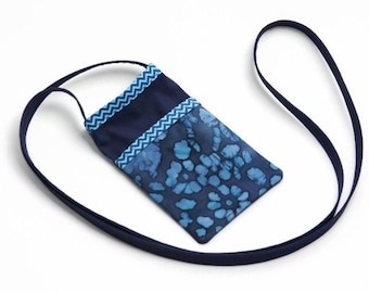 iPhone Fabric Cell Phone Pouch, Cell Phone Bag, Cross Body Bag, Women's Accessories, Cell Phone Purse, Smart Phone Pouch, Blue Marbled Batik