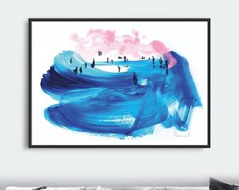 Beach Art, Beach Prints, Surf art, Printable Minimal Art Prints, Living Room Art, digital download art, ocean art, abstract wall art prints