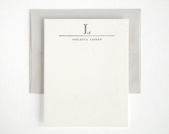 ACADEMY Letterpress Stationery Set - Custom Flat Note Cards - Classic Style