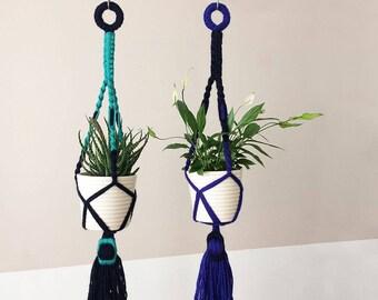 macrame plant hanger with yarn wrapped buckle | hanging planter | macrame plant holder | colorful plant hanger | blue wool yarn