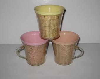 Vintage Melmac Raffia Ware Burlap Pastel Cups or Mugs