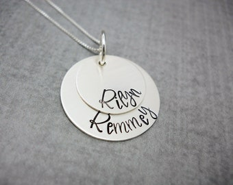 Sterling Silver Layered necklace with kids names, Personalized Mothers necklace, gift for mom, gift for her, Engraved Mothers Necklace