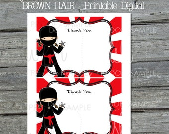 Ninja Girl Thank You Card | Girly Ninja with Brown hair birthday | Thank You Note | Printable 5x7 Template | Black Hair |  INSTANT Download