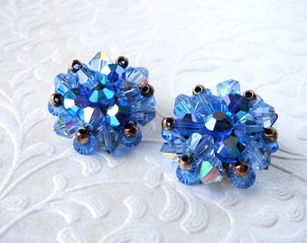 1950s Blue Crystal Cluster Bead Earrings Clip Back AB Crystals Silver Tone Wedding Bridal Formal Pageant Ballroom Prom MoG MoB MoH