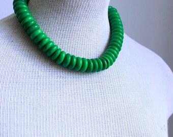 Emerald Green Dyed Bone Bead Necklace 16mm Rondelle Bone Bead Tribal / Boho Vintage
