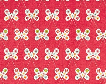 GARDEN GIRL fabric cotton patchwork Butterfly flowers red x50cm