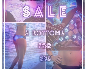 2 Bottoms for 85 // cheeky bikini bottoms // reversible bikini bottoms // seamless bikini bottoms // custom bikini //gifts for her //summer