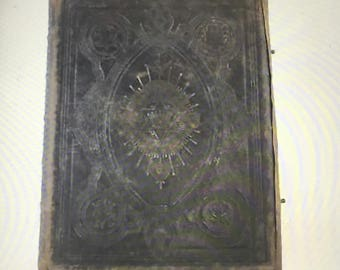 Antique BROWN'S SELF-INTERPRETING Family Bible Book Leather Bound