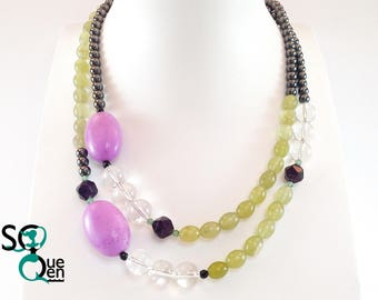 Natural gemstone - Heterosite, Serpentine, Quartz and Hematite necklace