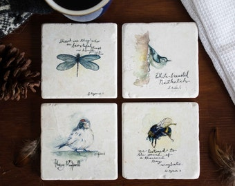 Birds and Bees / Marble Coasters / Original Watercolour Design