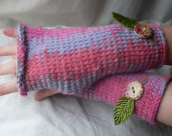 Knitted Wrist Warmers - Dusky