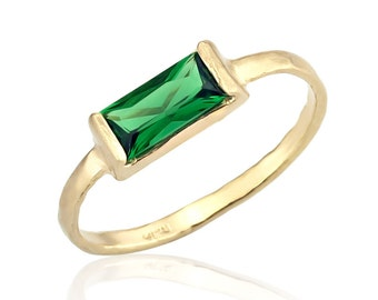 Emerald Ring, 14K Gold Band Emerald CZ Stone, Emerald Birthstone Ring, Emerald Jewelry, Emerald Cut Wedding Ring, May Birthstone, Emerald