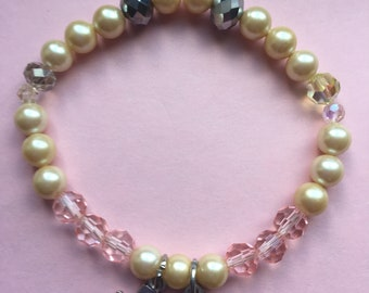 """Girls Holy Communion Bracelet pearls and pink crystals with 2 charms comes with gift box fits 6 1/2 """""""