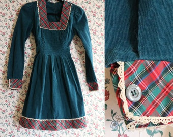Corduroy Prairie Dress | small teal tartan plaid trim long sleeve baby doll 70s vintage 1970s retro square neck mini Jody of California
