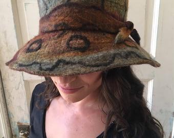 Felted Hat, Felt Hat, ****SOLD***hand Felted Hat, Wool Hat, Winter Hat