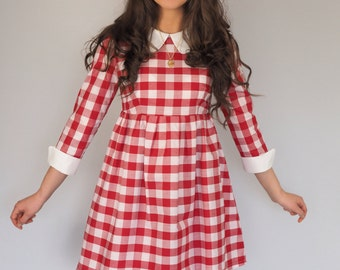 Red and White Gingham Collar and Cuffs dress