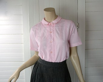 60s Sweet Pink Blouse- 1960s Peter Pan Collar- Small / Medium- Secretary Blouse / School / Preppy- Sweet Classic Lolita- Valentine's Day