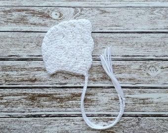 Newborn Bonnet, Crochet Newborn Baby Girl or Boy Bonnet in White, Baby Bonnet, Photo Prop,  Ready to Ship