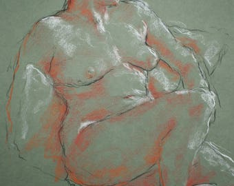 Pastel Trois Crayons/ Seated Nude/Susanna Short Pose 1