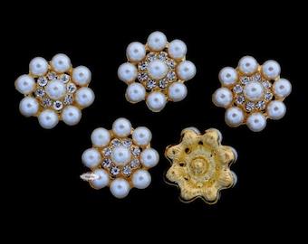 10 Rhinestone Pearl Flat back Buttons - Pearl Embellishments - Flatback RD84