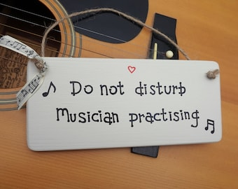 Music - Personalised sign for Musician - gift for musician - singer - gift for drummer- guitar - door hanger - Father's Day - Siop Gardd