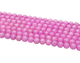 1Full Strand Pink Jade Faceted Round Beads,8mm 10mm Wholesale Gemstone For Jewelry Making